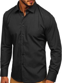 Чоловіча елегантна сорочка з довгим рукавом чорна Bolf 0001