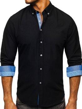 Чоловіча елегантна сорочка з довгим рукавом чорна Bolf 8838-1
