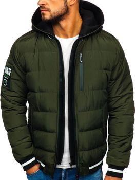 Чоловіча зимова куртка-бомбер хакі Bolf 5892