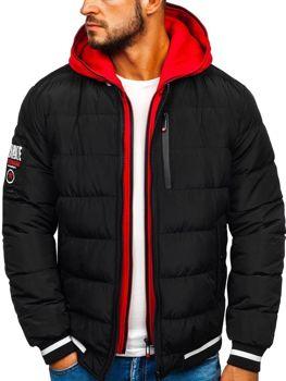 Чоловіча зимова куртка-бомбер чорна Bolf 5892