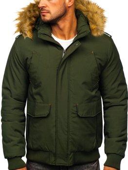 Чоловіча зимова куртка зелена Bolf 1770