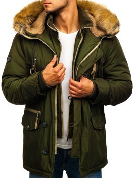 Чоловіча зимова куртка парка зелена Bolf 1045