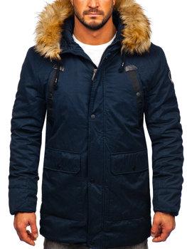 Чоловіча зимова куртка парка темно-синя Bolf 1791