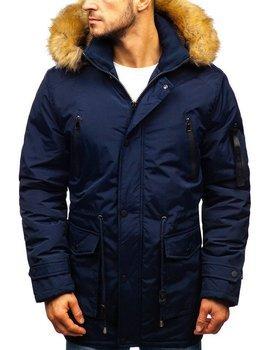 Чоловіча зимова куртка парка темно-синя Bolf R102