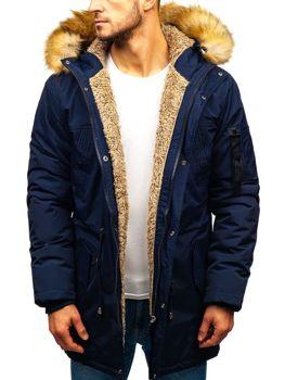Чоловіча зимова куртка парка темно-синя Bolf R103