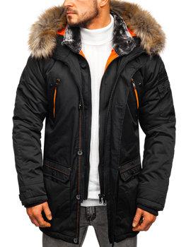 Чоловіча зимова куртка парка чорна Bolf 1067