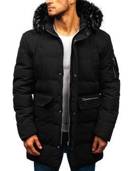 Чоловіча зимова куртка парка чорна Bolf 5585