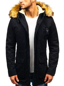 Чоловіча зимова куртка парка чорна Bolf 88709