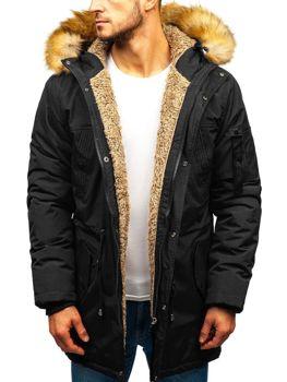Чоловіча зимова куртка парка чорна Bolf R103