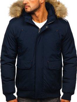 Чоловіча зимова куртка темно-синя Bolf 1770