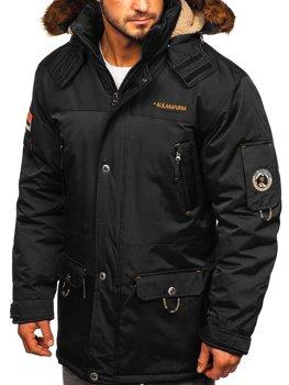 Чоловіча зимова куртка чорна Bolf 40014