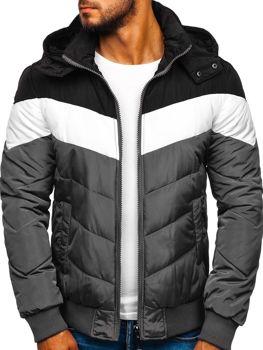 Чоловіча зимова спортивна куртка сіра Bolf Jk398
