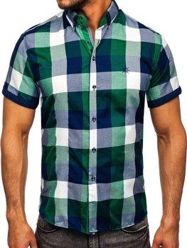 Чоловіча картата сорочка з коротким рукавом зелена Bolf 5532