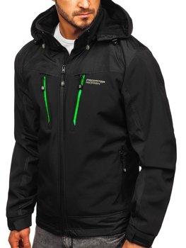 Чоловіча куртка софтшелл чорно-зелена BolfP185