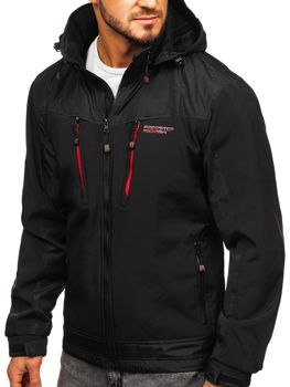 Чоловіча куртка софтшелл чорно-червона Bolf P185