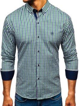 Чоловіча сорочка віші в клітку з довгим рукавом зелено-темно-синя Bolf 4712 f55a63733e3f6
