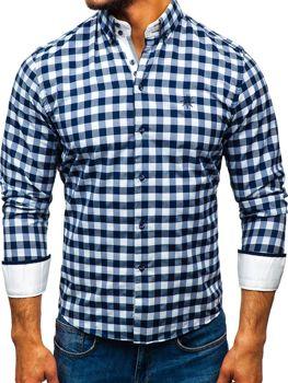 Чоловіча сорочка в клітку з довгим рукавом біло-темно-синя Bolf 5816-A