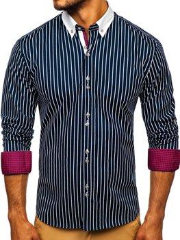 Чоловіча сорочка в смужку з довгим рукавом темно-синя Bolf 9713