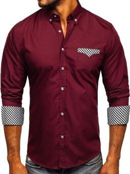 Чоловіча сорочка елегантна з довгим рукавом бордова Bolf 4711