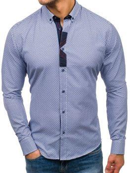 Чоловіча сорочка з візерунком з довгим рукавом синя Bolf 8810 f74be71e2aa15