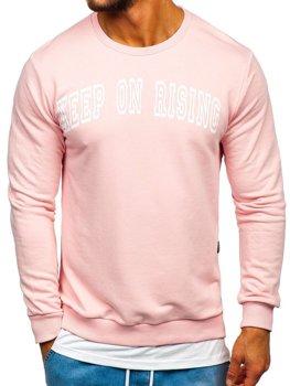 Чоловіча толстовка без капюшона з принтом рожева Bolf 11114