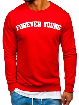 Чоловіча толстовка без капюшона з принтом FOREVER YOUNG червона Bolf 11116