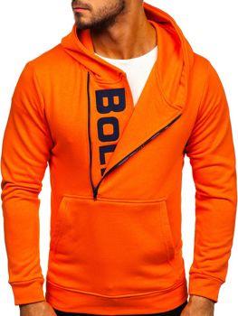 Чоловіча толстовка з капюшоном та принтом помаранчева Bolf 01