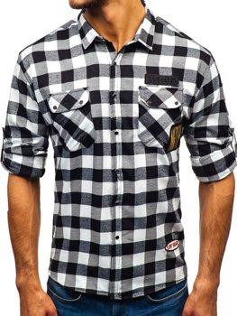 Чоловіча фланелева сорочка з довгим рукавом чорна Bolf 2503
