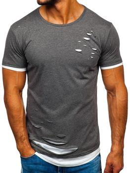 Чоловіча футболка без принта графітова Bolf 10999