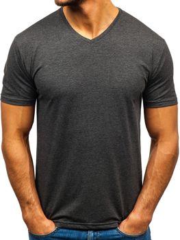 Чоловіча футболка без принта з v-подібним вирізом антрацитова Bolf 172010-A