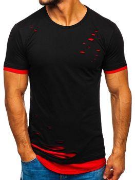 Чоловіча футболка без принта чорно-червона Bolf 10999