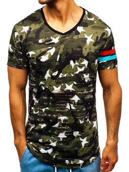 Чоловіча футболка з принтом камуфляж-зелена Bolf 309