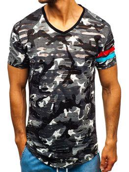 Чоловіча футболка з принтом камуфляж-сіра Bolf 309