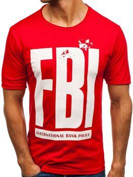 Чоловіча футболка з принтом червона Bolf 6295