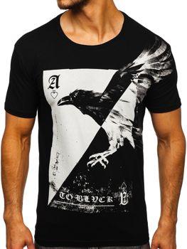 Чоловіча футболка з принтом чорна Bolf 181210