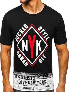 Чоловіча футболка з принтом чорна Bolf 6305
