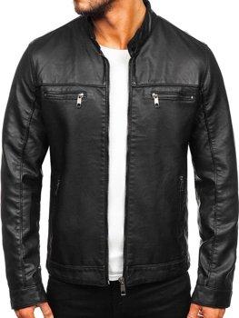 Чоловіча шкіряна куртка байкер чорна Bolf 88906