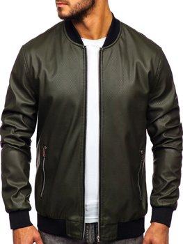 Чоловіча шкіряна куртка зелена Bolf 6123