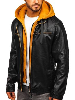 Чоловіча шкіряна куртка з капюшоном чорно-жовта Bolf 6129