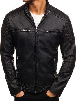 Чоловіча шкіряна куртка чорна Bolf 9103