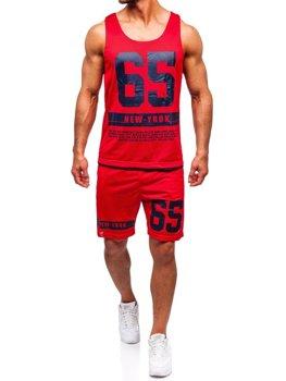 Чоловічий комплект футболка + шорти Bolf червоний 100777