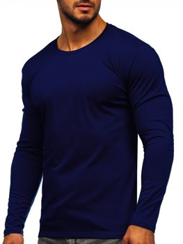 Чоловічий лонгслів без принта темно-синій Bolf 2088L