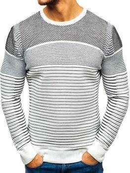 Чоловічий светр біло-чорний Bolf 1015