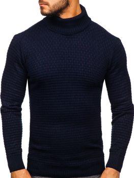 Чоловічий светр гольф темно-синій Bolf 323