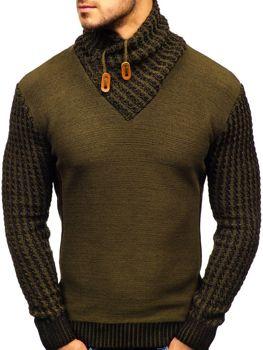 Чоловічий светр з візерунком зелений Bolf 2010