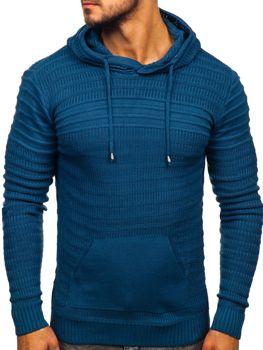 Чоловічий светр з капюшоном синій Bolf 7003