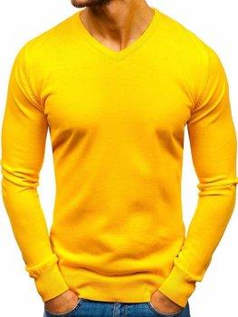 Чоловічий светр з v-подібним вирізом жовтий Bolf 2200