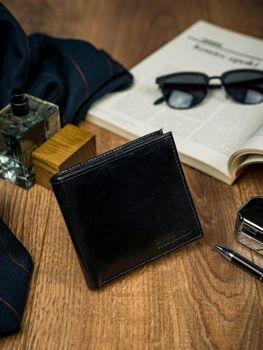 Чоловічий шкіряний гаманець чорний 4587
