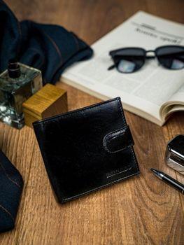 Чоловічий шкіряний гаманець чорний 4588