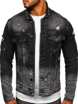 Чорна джинсова чоловіча куртка Bolf 6614G